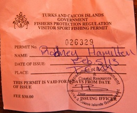 Fishing License front
